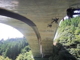 特殊高所技術で、橋梁調査中