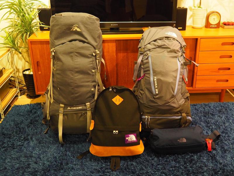 出発時に持っていった荷物2人分。300日の間に不要になって処分したり、買い足したりしながら厳選していった
