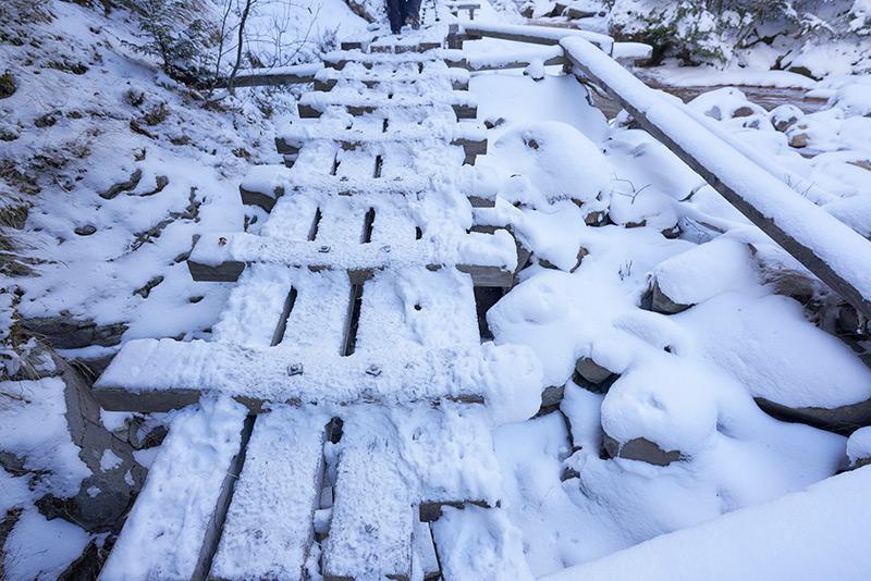 雪が積もり凍結した木道
