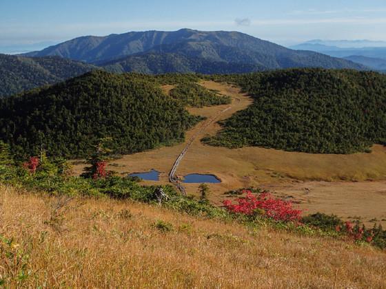点在する湿原や尾瀬ヶ原は草紅葉に染まる